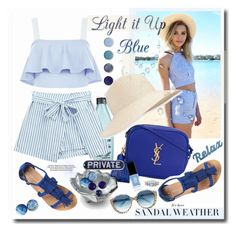 """""""Light it up Blue!"""" by prettynposh2 ❤ liked on Polyvore featuring Dorothy Perkins, Redken, Chicnova Fashion, New Look, Yves Saint Laurent, Terre Mère, Eric Javits, Julia Knight, JINsoon and Cutler and Gross"""