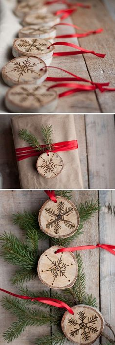 DIY: Etched Snowflake Ornaments in Birch. So easy!