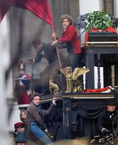 Enjolras (Aaron Tveit) and his red flag! My new celebrity crush.
