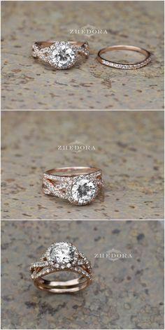 2.15 CT Round Cut Engagement Ring band set in Solid 14k or 18k Rose Gold Bridal, Wedding Set