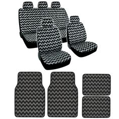 BDK Gray Chevron Design Seat Covers and Carpet Floor Mats Complete Set