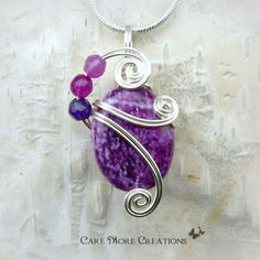 Purple Sugilite Wire Wrapped Pendant Necklace in Silver by CareMoreCreations.com, $29.00