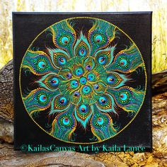 "New Peacock Mandala on 12""x12"" Stretched Canvas....Only one available!"