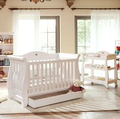 Boori Country Sleigh Royale 3 in 1 Cot in White