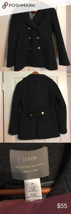 J.Crew wool pea coat size 6P charcoal grey Beautiful charcoal grey wool pea coat. Double breasted with gold buttons. Satin lining. 2 front pockets. Back vent. Great used condition J. Crew Jackets & Coats Pea Coats
