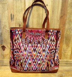 embroidered handbag bag tote with leather by ColorsOfEtnika, $165.00
