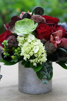 Floral arrangement with succulents, hydrangea, roses, cymbidium orchids, fiddle head ferns. Deco Floral, Arte Floral, Floral Design, Fresh Flowers, Beautiful Flowers, Wild Flowers, Autumn Flowers, Exotic Flowers, Purple Flowers