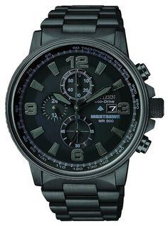 Citizen Eco-Drive Men's Nighthawk Chronograph Watch. This Eco-Drive watch is powered by light, and has a 1/5 second chronograph with 12/24 hour time. Features a