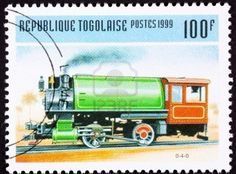 Stamps of Vintage Railroad Steam Engine Locomotive made by Baldwin.