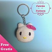 A Hello Kitty key-ring. Available as free download on Ravelry. Click here to see all other Hello...