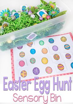 This Easter Egg Hunt Sensory bin is perfect for preschoolers who are learning to match. Work on fine motor skills while using this Easter Egg Matching Free Printable. I love the bright colors! Easter Activities For Kids, Spring Activities, Holiday Activities, Preschool Activities, Preschool Centers, Preschool Lessons, Kids Fun, April Preschool, Sensory Bins