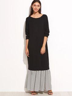 Black Contrast Striped Trim Sweatshirt Dress