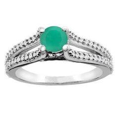 https://ariani-shop.com/10k-white-gold-natural-emerald-engagement-split-shank-ring-round-5mm-diamond-accents-sizes-5--10 10K White Gold Natural Emerald Engagement Split Shank Ring Round 5mm Diamond Accents, sizes 5 - 10