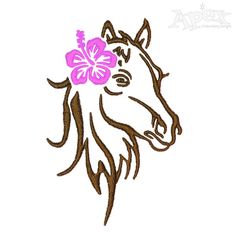 Hibiscus Horse Embroidery Design FREEBIE