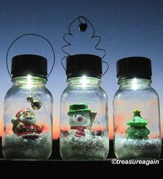 Solar Mason Jar Snow Globe Lights by treasureagain http://etsy.me/1ED1u4L