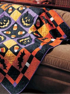 """Bats, Cats, Candy Corn pattern, 60 x 60"""", by Patrick Lose 