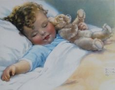 Bessie Pease Gutmann ~ Sweet Dreams ~ Golden Age of Illustration Baby Images, Baby Pictures, Vintage Pictures, Vintage Images, Art Carte, Art And Illustration, Jolie Photo, Baby Art, Vintage Children