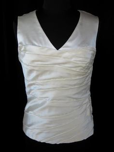 PAMELLA ROLAND;Ivory-Tone White Cream SILK SATIN RUCHED SLEEVELESS BLOUSE TOP~8~ $52.50