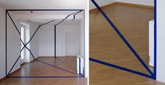 Swiss artist Felice Varini creates amazing anamorphic illusions using an eye-deceiving technique called anamorphosis. The complete shapes are only seen when viewed at certain angles, otherwise the viewer only sees some random broken pieces.