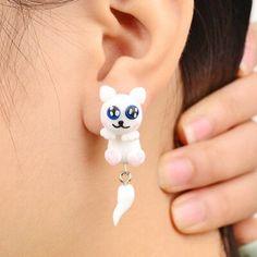 Polymer Clay Cat Stud Earrings