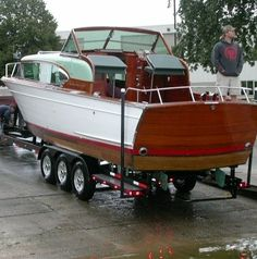 Custom Inboard Boat Trailer 1957 Chris Craft 30 foot Constellation with twin engines made by MBBW Classic Trail