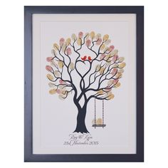 Unity Tree Red Birds + swing with Autumn Leaves. The kit includes everything you need, such as print, frame, ink pads, pen, gel cleaner & wipes for fingers and instructional card. Yep, everything!