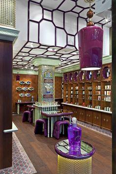 Penhaligon's, Regent Street, London by Interior Designer Christopher Jenner. The ceiling treatment is outstanding. The purple so rich.