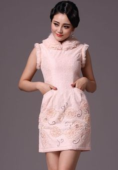 Winter Chinese Qipao / Cheongsam Dress with Quilting Detail