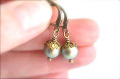 Crystal pearl antique brass drop earrings, iridescent green Swarovski pearl dangle earrings, lever back pearl jewelry, womens jewelry