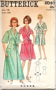 Butterick 4040 1960s Misses Wrap Around Robe Housedress womens vintage sewing pattern  by mbchills