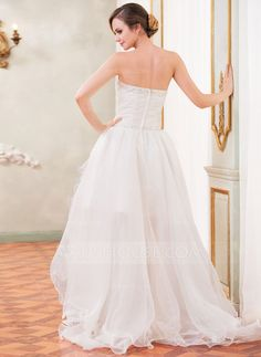 A-Line/Princess Sweetheart Asymmetrical Ruffle Beading Sequins Zipper Up Strapless Sleeveless Beach Hall General Plus No Spring Summer Fall Ivory Organza Wedding Dress