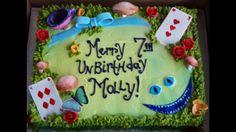 Alice in Wonderland sheet cake / birthday cake / Cheshire cat