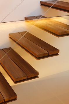 Double layer wooden floating stairs