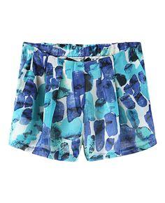 Rocks Printed Elastic-waist Pleated Shorts
