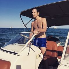 "mikainstagram on a boat in Key Biscayne Florida, ""Earlier in the day.... When things were going better"" Apr 2015"
