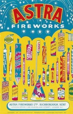 Vintage fireworks, packaging (Amazing Fireworks) ~ print out in miniature and fill with thin metal wire Fourth of July Vintage Packaging, Vintage Labels, Vintage Ephemera, Vintage Cards, Vintage Postcards, London Fireworks, Fireworks Art, Firework Safety, Vintage Fireworks