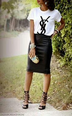 ysl tshirt with black skirt