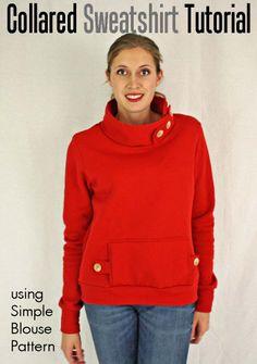 Simple Blouse Variation: Standing Collar Sweatshirt