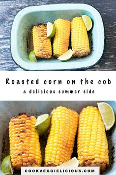 Is there anything better than the taste of fresh sweetcorn in summer? This roasted corn on the cob makes a spectacular summer side dish. In this simple recipe the sweetcorn is roasted whole with olive oil, smoked paprika, salt and lime juice. #cornonthecob #roastedcorn #vegan #vegetables #summer Easy Summer Dinners, Easy Meals, Shucking Corn, Bbq Corn, Summer Corn Salad, Summer Side Dishes, Roasted Corn, Vegetarian Dinners, Smoked Paprika