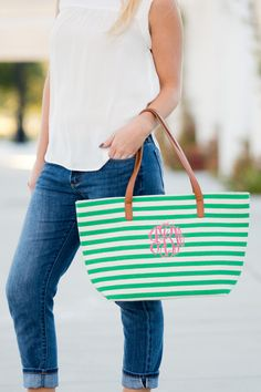 f235f9d9f95f Monogrammed Green Stripe Charlotte Purse with Hot Pink thread and Master  Circle Font