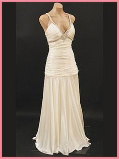 1930s Hollywood Glamour Ivory Satin Evening Gown w/Rhinestones
