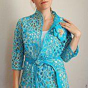 """Одежда ручной работы. Ярмарка Мастеров - ручная работа жакет с рукавом 3/4 """"Сobweb turquoise 2"""". Handmade."""