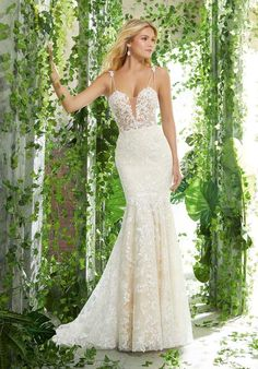 7996bf72f5 Voyage by Mori Lee 6908 Presley Sweetheart Illusion Lace Bodice Mermaid  Wedding Dress