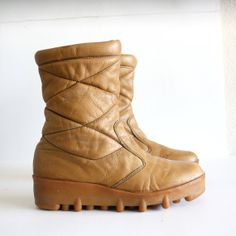 Vintage Leather Lama Wedge Platform Ankle Boots  by pascalvintage, $85.00