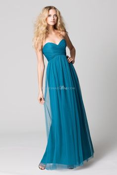 teal bobbinet strapless cross drape empire long bridesmaid formal dress