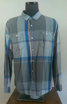 Men's XL  Warp & Weft Long Sleeve Plaid Button Down Shirt 100% Cotton