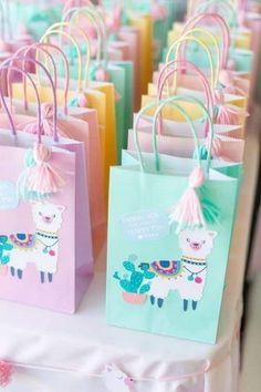 Llama Themed Birthday Party - Pretty My Party - Party Ideas Pastel Llama Favor Bags 50th Birthday Party Decorations, Birthday Favors, Birthday Diy, First Birthday Parties, First Birthdays, Birthday Cookies, Birthday Ideas, Girl Birthday Party Themes, Paris Birthday