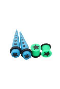 Morbid Metals Blue Green Star Taper And Plug 4 Pack