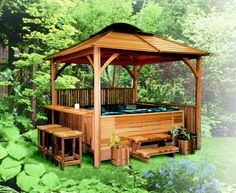 Building a gazebo roof diy outdoor projects pinterest for Diy hot tub gazebo