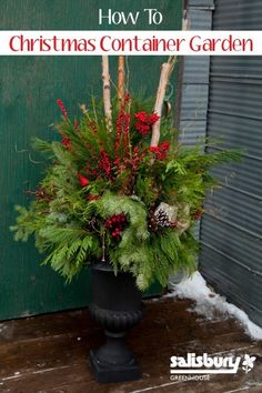 this winter planter is so pretty; spray paint the containers and add greenery, berries, twigs.......